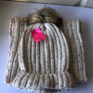 Betsey Johnson Knitted Hat & Scarf Set